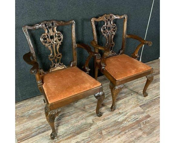 Paire de fauteuils George II en acajou époque XIXe siècle