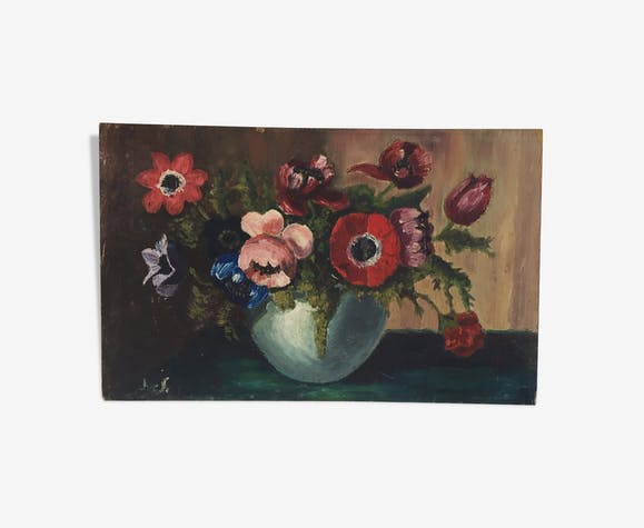 Peinture à l'huile fleurs 61 x 39 cm