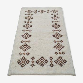 Black and white Berber carpet in wool 90x160cm