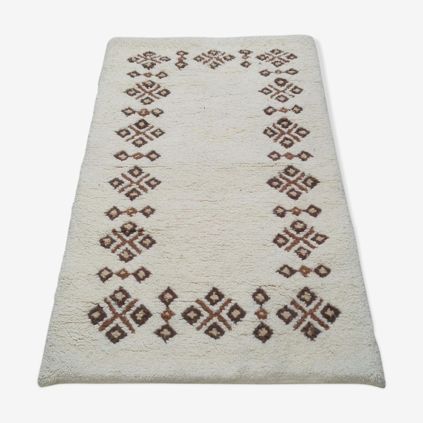 Tapis berbère blanc et noir en laine 90x160cm