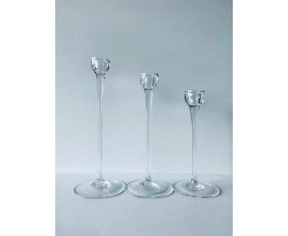 Trio de bougeoirs en verre