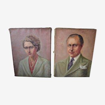 Lot de deux portraits à l'huile début XXeme Laurent Delhief