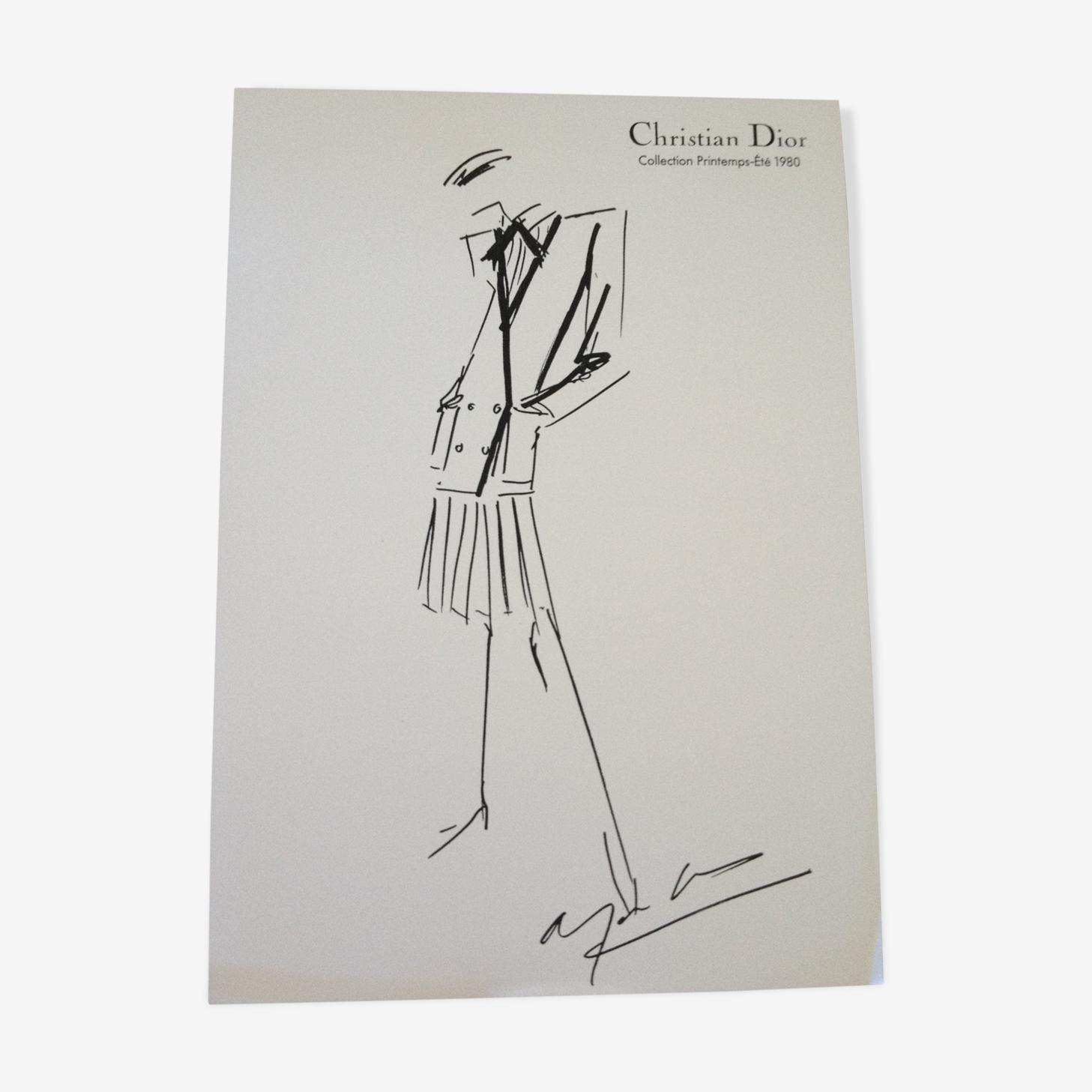 Croquis de mode de presse en noir et blanc Christian Dior des années 80