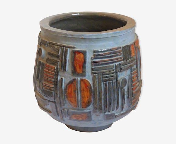 Cache-pot brutaliste en céramique années 60