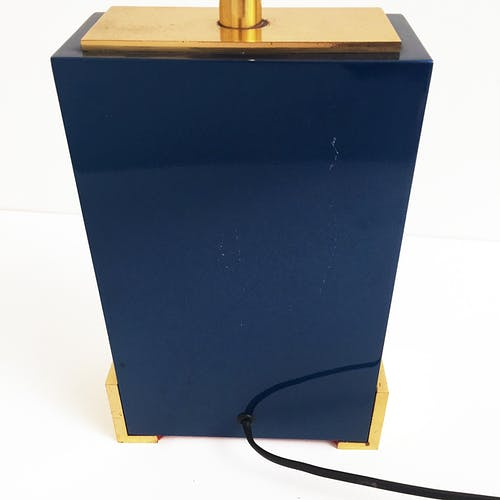 Blue enamelled burned chrome & brass table lamp hollywood regency