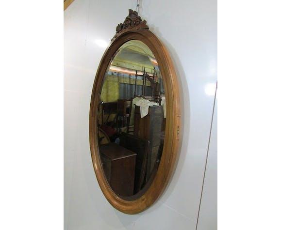 Oval mirror in blond Walnut former 58x92cm