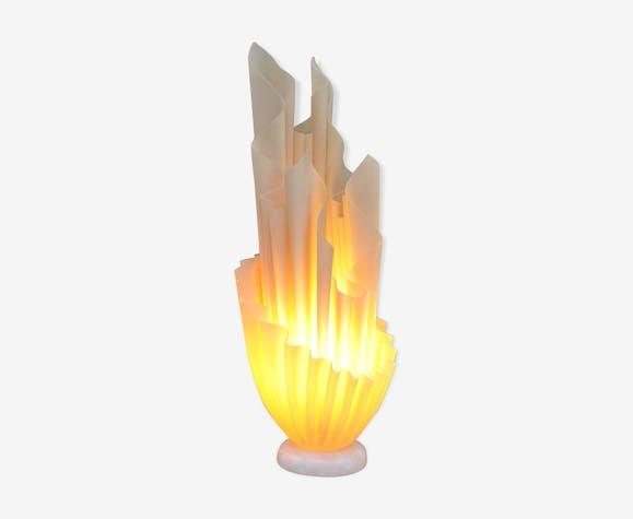 Lampe vintage drapée en plastique et marbre 1980