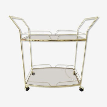 Golden serving trolley with smoked glass 1980