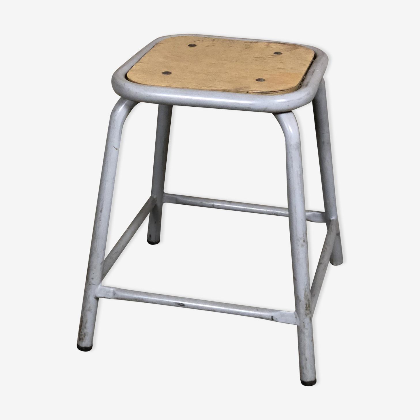Iron and gray wood stool