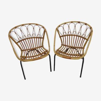 Paire de fauteuils coquilles en rotin