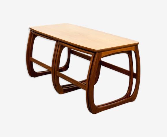 Table Basse Gigogne Arrondie Teck Bois Couleur Scandinave