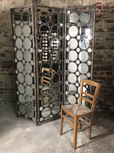 Screen 3 panels of round mirrors frame metalized iron aged