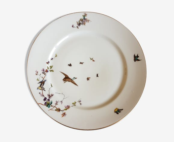 Limoges porcelain plate decorated with birds - ceramics