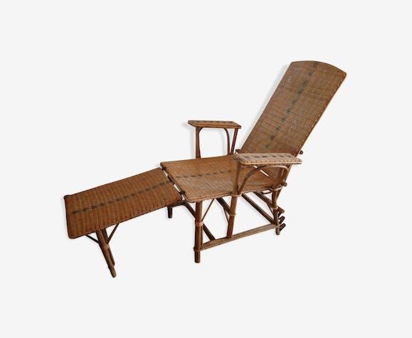Chaise longue rotin et osier vintage ancienne