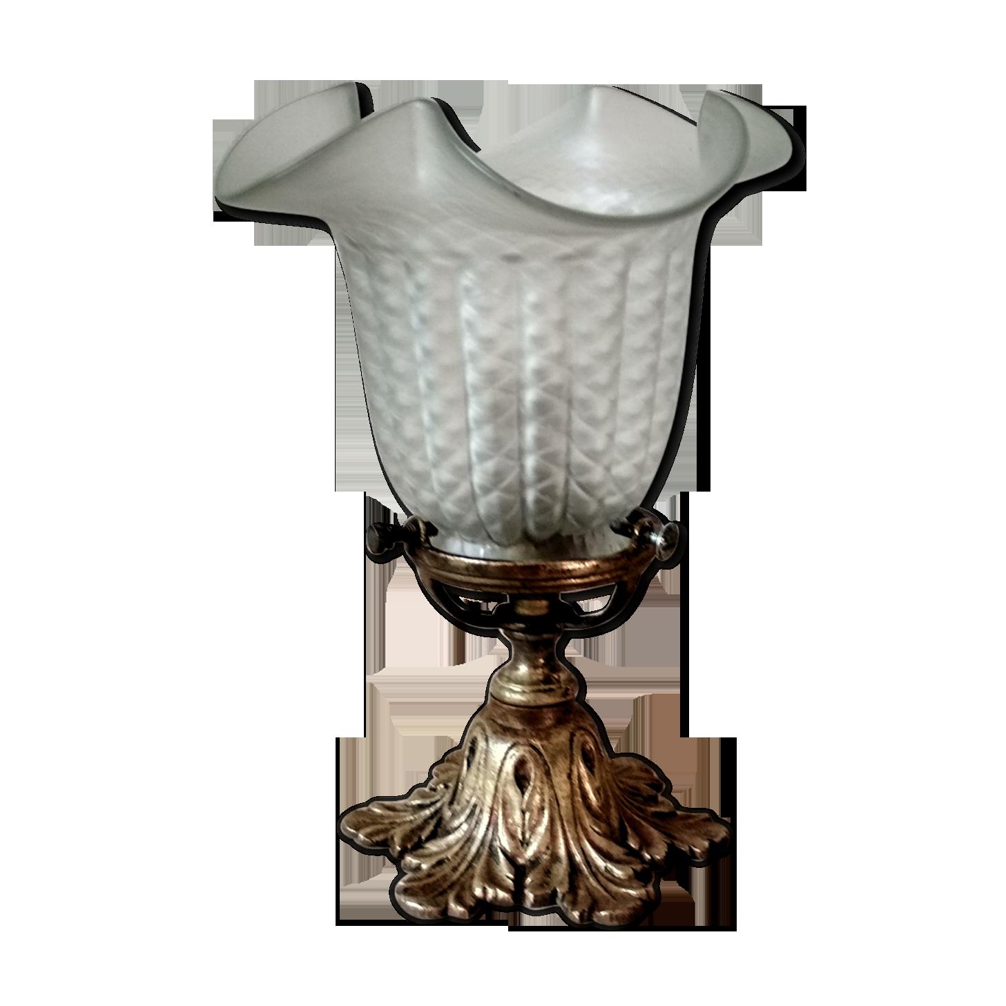 Griffe de Lampe Laiton Tulipe Art Nouveau Déco