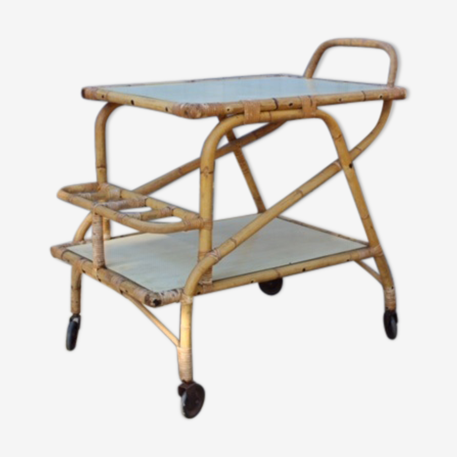 Serving table in bamboo and rattan 1950