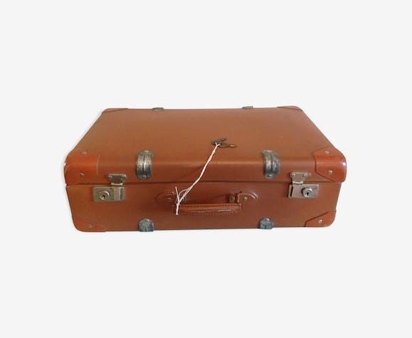 Ancienne valise brun clair avec ses clés vintage années 40/50