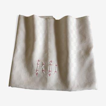 Nappe de chateau en damas de lin à damiers, RD monogrammes, 3mx2m