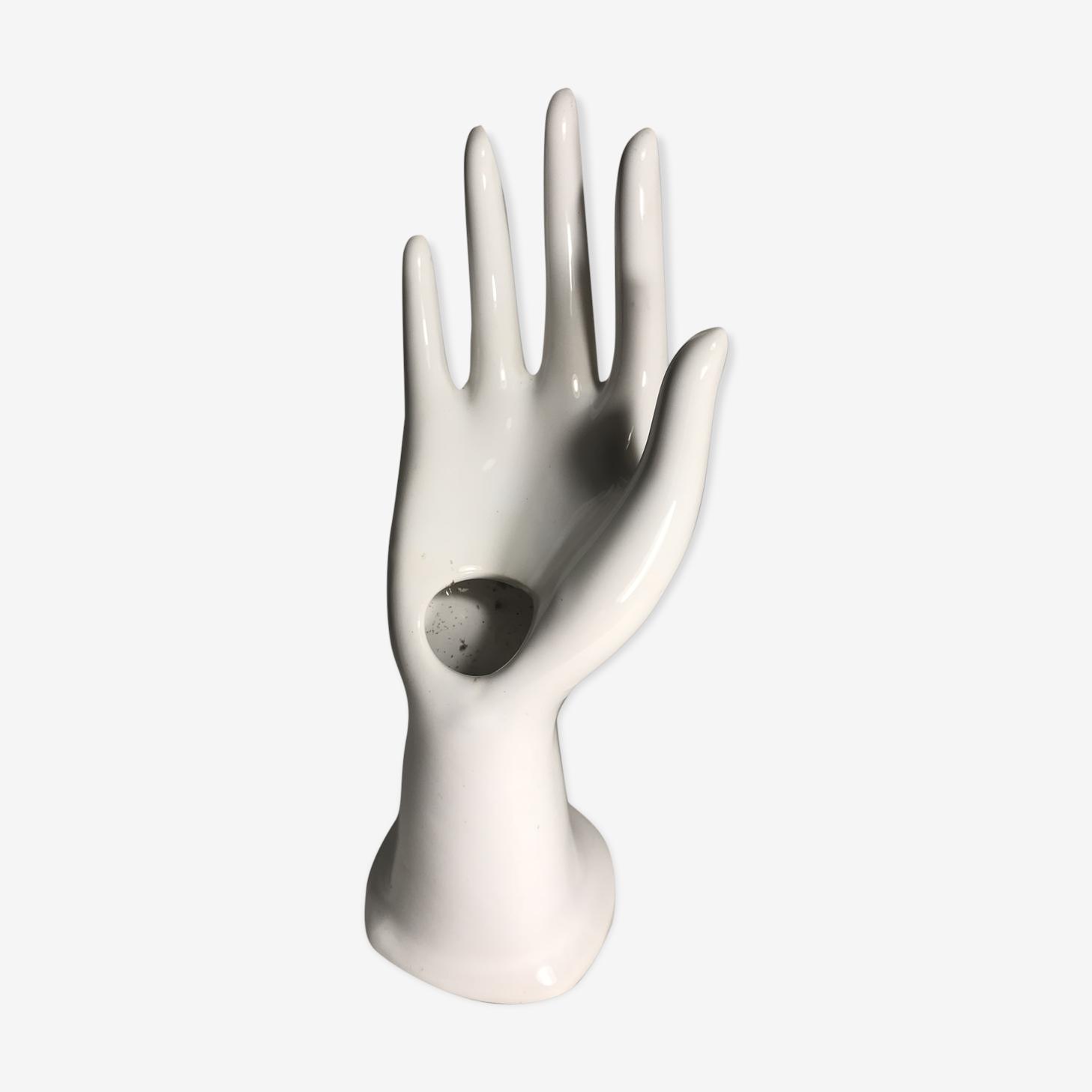 Main céramique grand modèle porte bagues blanc droitier vintage