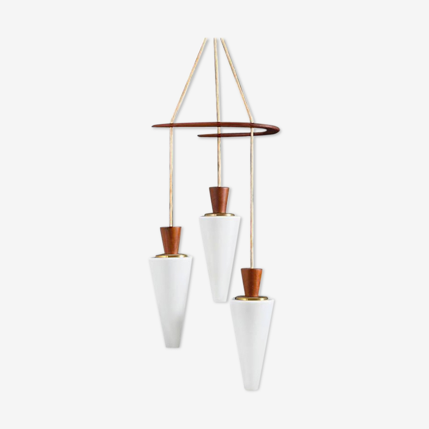Suspension Boomerang from the middle of the century in teak and glass