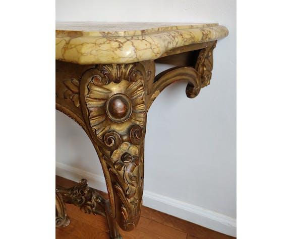 Console Louis XV en bois doré et marbre beige XIXeme