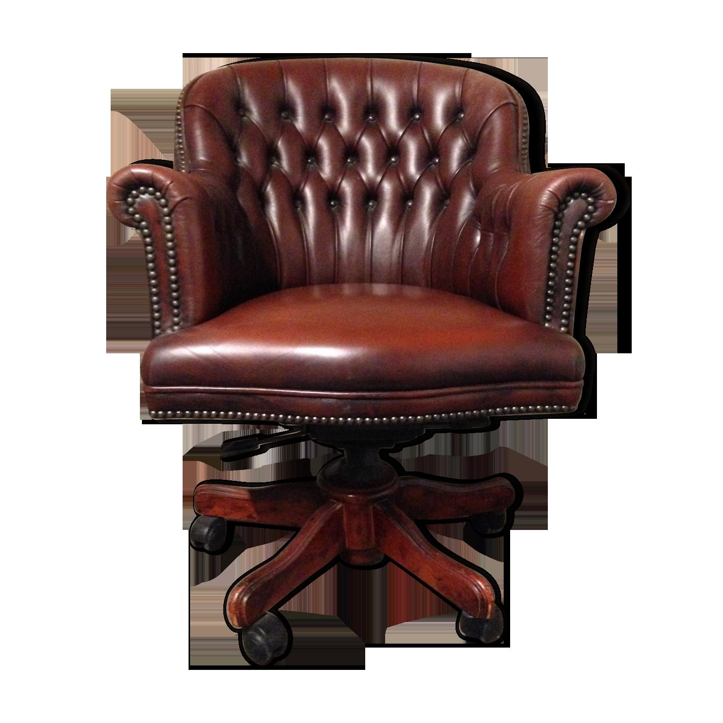 Fauteuil de bureau anglais capitonné cuir leather brown