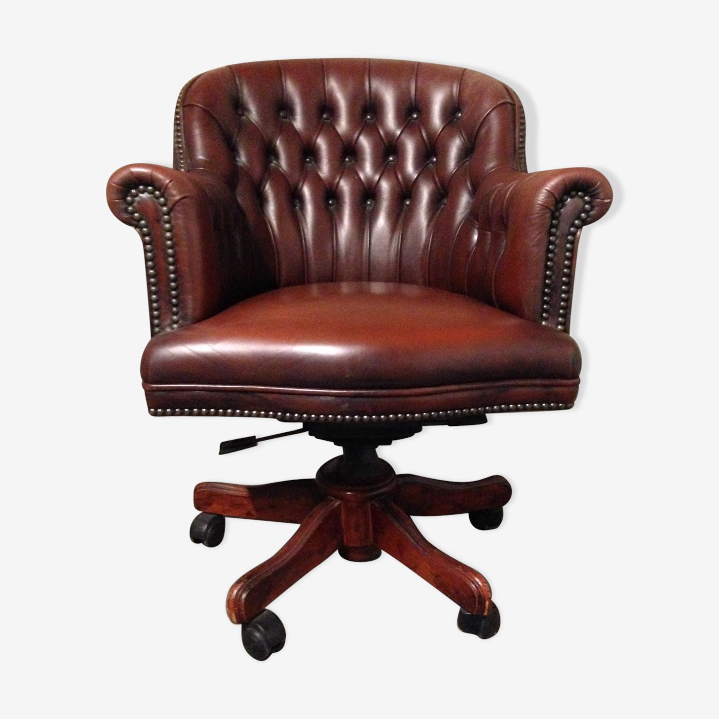 Fauteuil De Bureau Anglais Capitonne Cuir Leather Brown