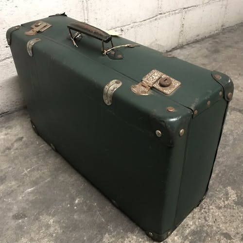 Vintage green case in vulcanized fiber