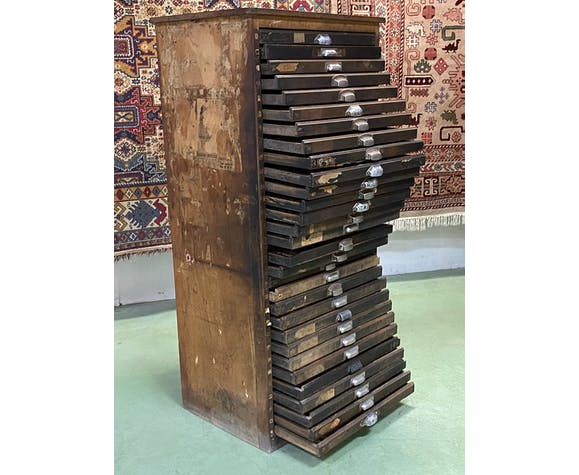Meuble d'imprimeur en chêne - années 30