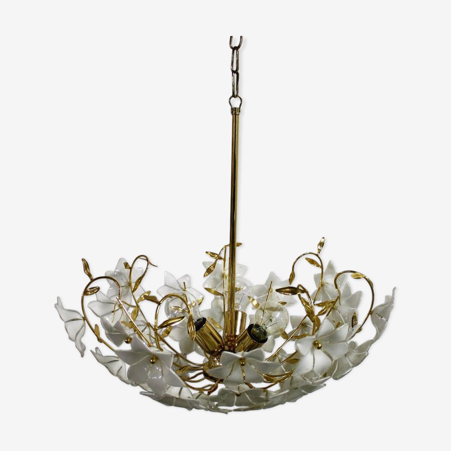 Lustre fleur en laiton et verre de Murano 1970s