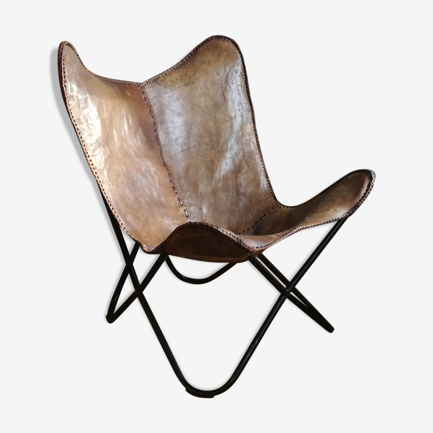 Butterfly in leather and metal armchair
