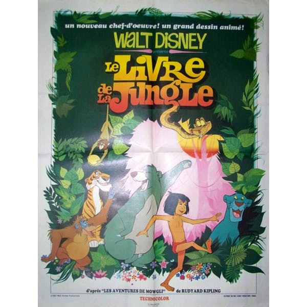 Affiche Cinema Originale De 1967 Walt Disney Le Livre De La Jungle Paper Good Condition Vintage 8077