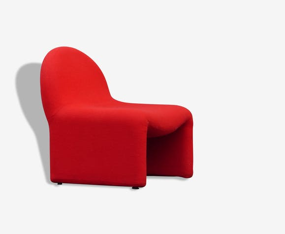 fauteuil vintage ann es 70 80 tissu rouge design 788. Black Bedroom Furniture Sets. Home Design Ideas