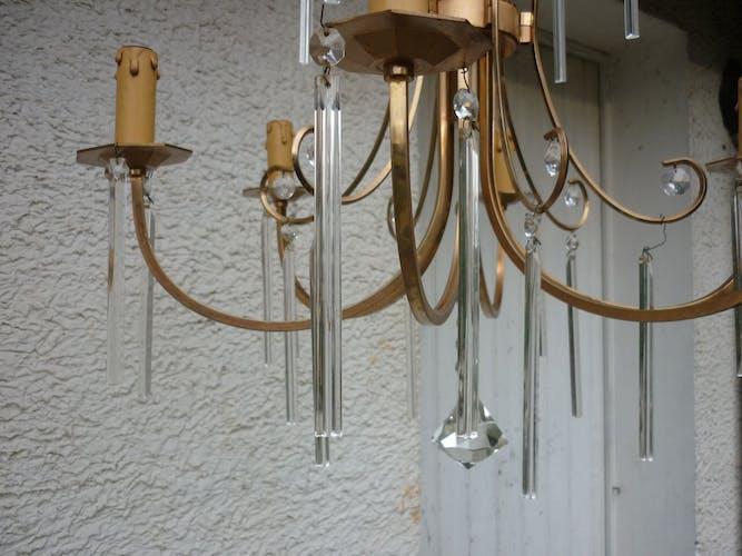 Lustre métal doré pampilles modernes