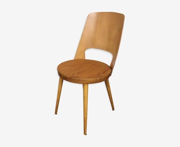 Chaise baumann modèle Mondor bois clair bistrot vintage