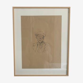 Esquisse originale portrait ee l'architecte Franck Loyd Whright