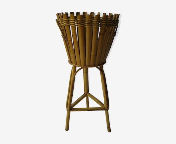 Porte pot en rotin et bambou vintage