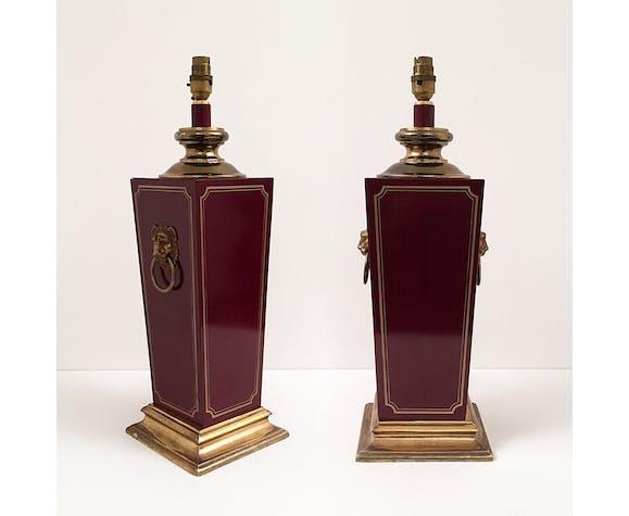 Burgundy bakelite & brass lion heads table lamps regency hollywood