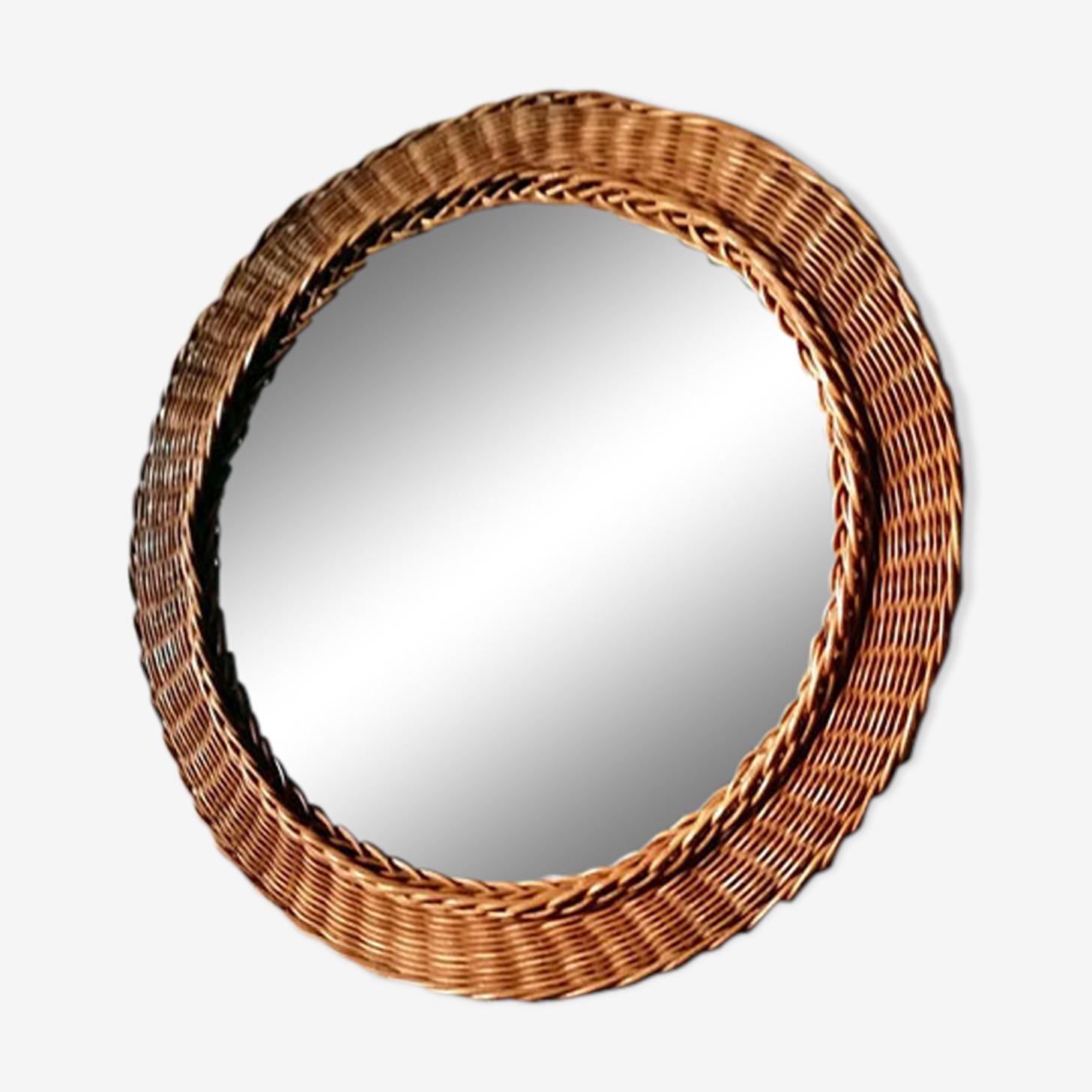 Braided Wicker round mirror 39cm