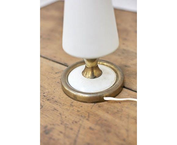 Lampe vintage blanche et dorée