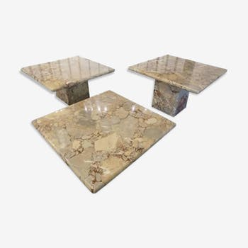 Set of three tables in marble 1960