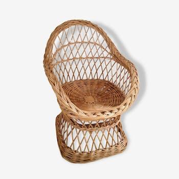 Child Chair rattan wicker vintage year 75