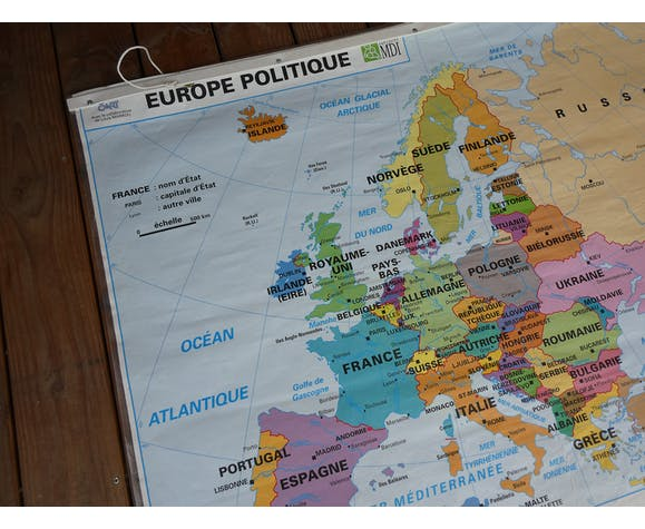 School map poster vintage Europe edition MDI - Old poster