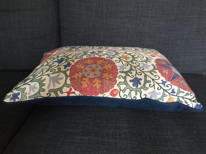 Taie d'oreiller décorative en lin et coton avec imprimés suzani