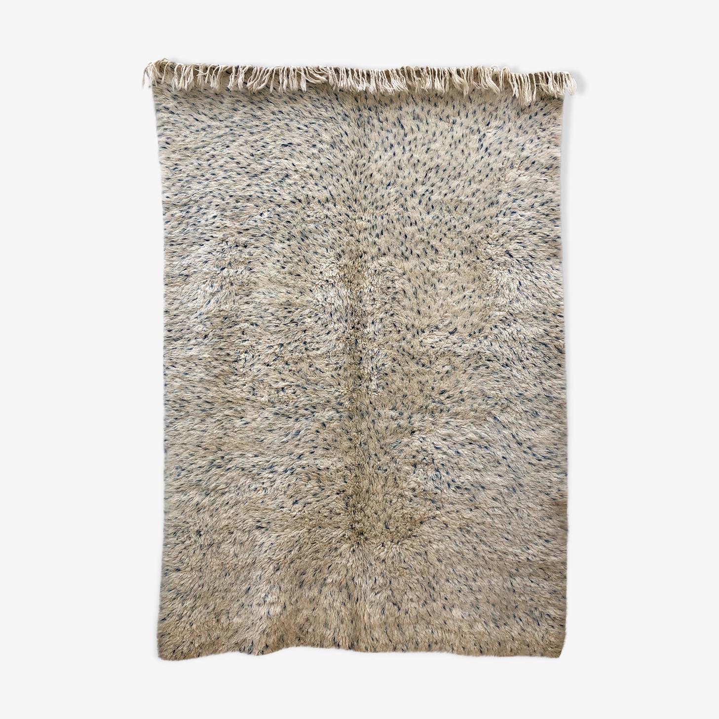 Tapis beni ouarain marmoucha à pois bleu indigo 256x175cm