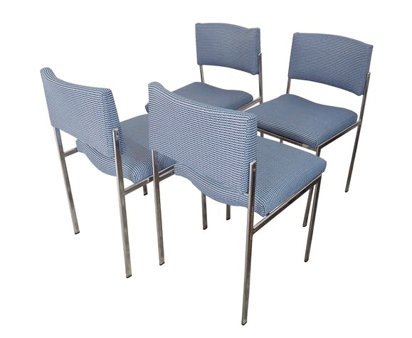 Series of 4 70s re-tapised chairs