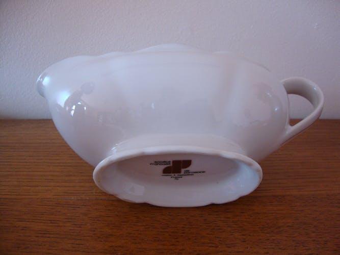White fine porcelain saucière creation A. Deshoulières