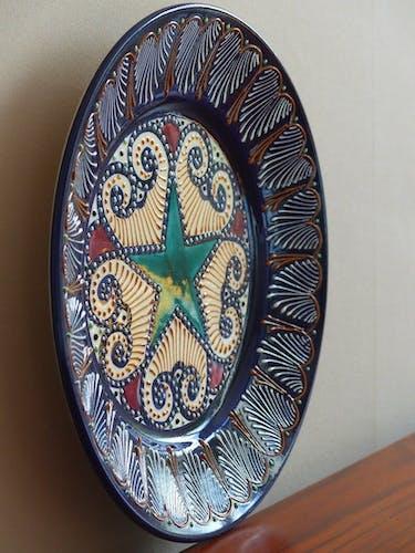 Assiette décor perlé faïence de Quimper 1950