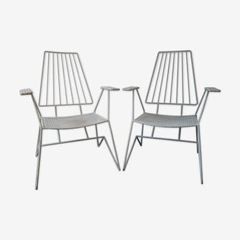 2 garden rigitulle and iron armchairs 1960