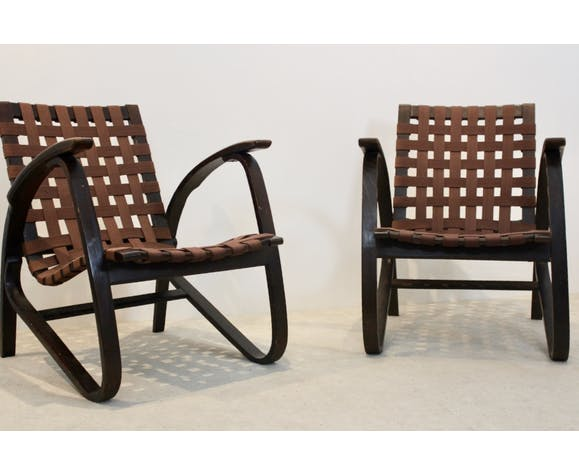 Pair of bentwood armchairs by Jan Vaněk for UP Zavodny, Czechoslovakia, 1930s